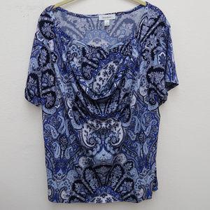 Dressbarn Blue Drape Neck Paisley Popover Blouse